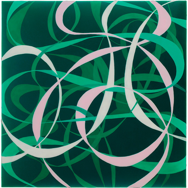 Ribbons: Green, Pink and White; 2011, acrylic on panel, 12 x 12 in.