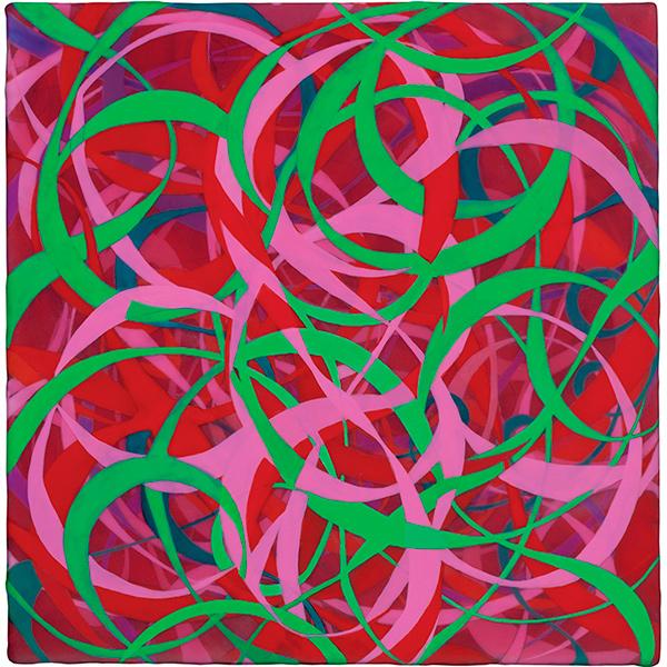 Garden of Earthly Delights, 2011, acrylic on linen mounted on wood panel, 10 x 10 in.