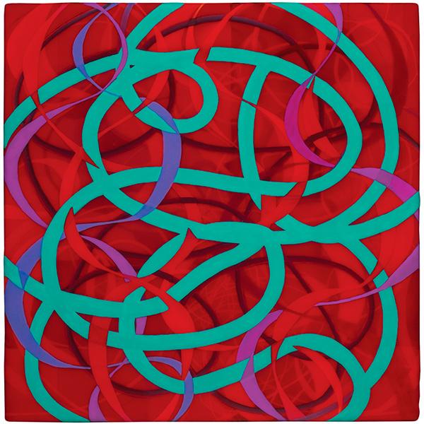 Lifeline, 2011, acrylic on linen mounted on wood panel, 12 x 12 in.