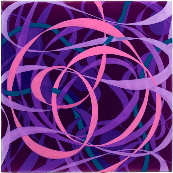 Ribbons: Violet, Pink; 2011; acrylic on wood panel; 12 x 12 in.