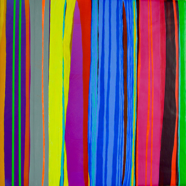 Stripes 2, 2016, acrylic on wood panel, 12 x 12 in.