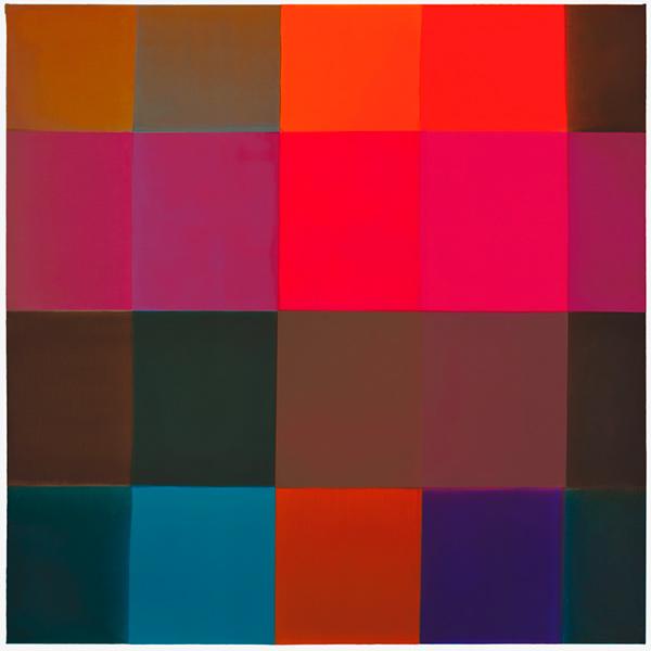 PinkOrangeBlueBrown, 2017, acrylic on canvas mounted on wood panel, 36 x 36 in.